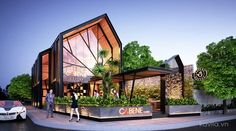 Home Decoration Sale Clearance Cafe Exterior, Retail Facade, Modern Cafe, Garden Coffee, Industrial Cafe, Coffee Shop Design, Facade Design, Facade House, Restaurant Design