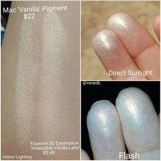 "℘ıŋɬɛγɛʂɬ Essence Eyeshadow In ""Irresistible Vanilla Latte"" ● MAC ""Vanilla"" Pigment Eyeshadow Dupes, Drugstore Makeup Dupes, Beauty Dupes, Makeup Swatches, Diy Beauty, Beauty Makeup, Mac Pigment Swatches, Mac Dupes, Make Up"