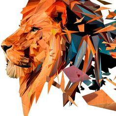 Vinilo decorativo animales del león, el rey de la selva. Un diseño original de polígonos componiendo la figura felina. Una decoración para presumir.