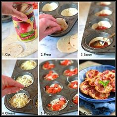 Muffin tin pizzas - great idea for sleep overs or bday parties