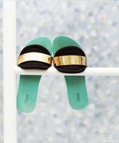 Chloé slides, green, gold, black / Garance Doré