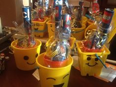 Beach pails to Lego men buckets! Holds birthday favors.