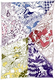 """Akemi Homura"" ""Charlotte"" ""Kaname Madoka"" ""Miki Sayaka"" ""Sakura Kyouko"" ""Tomoe Mami"""