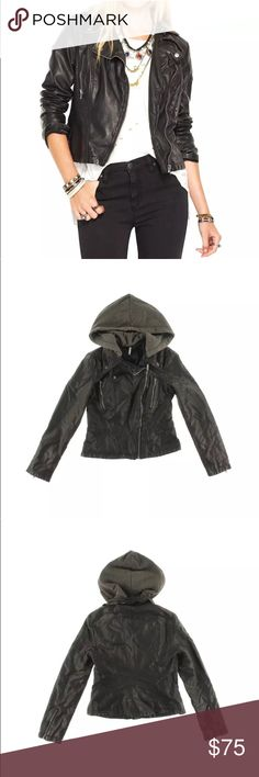 Free People faux black leather jacket. Faux leather jacket by Free People.  Excellent condition! Free People Jackets & Coats