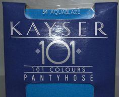 Vintage Kayser 101 Pantyhose AquaBlaze Blue One Size Sheer Sealed Original Box