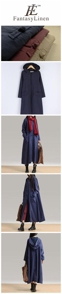 Blue Cotton Linen Plus Size Sweep Long Sleeve Loose Casual Coat Women Clothes W3101A