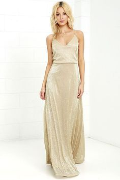 All the glamour seekers know that an amazing night starts with the Friend of the Glam Gold Maxi Dress! Beige knit, with metallic gold threading, sparkles over adjustable spaghetti straps and a relaxed triangle bodice. Fitted waist tops th Gold Bridesmaids, Gold Bridesmaid Dresses, Prom Dresses, Formal Dresses, Wedding Dresses, Casual Bridesmaid, Bride Dresses, Club Dresses, Long Dresses