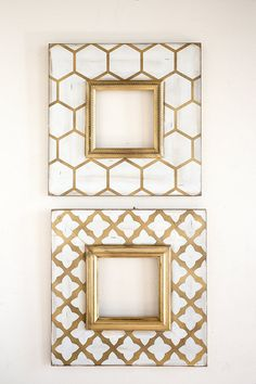 Metallic Gold Frame Set by deltagirlframes on Etsy Quatrefoil Pattern, Honeycomb Pattern, Home Confort, Delta Girl, Benjamin Moore Paint, Diy Frame, Decoration, Picture Frames, Gallery Wall