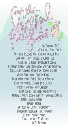 Check out this Girl's Weekend Playlist for some throwback meets girl power tunes for your next gal pal get together! Music Mood, Mood Songs, Music Lyrics, Music Songs, Juan Sebastian Bach, Wannabe Spice, Sr Pelo, Song Suggestions, Baby One More Time