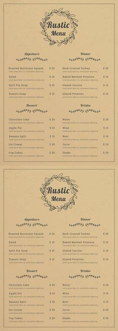 Free Rustic Menu Free Rustic Menu Template - Printable Rustic Menu Design Provide You with a Variety of Layout. Rustic Menu Design for Restaurant, Cafe, Wedding. Available in Illustrator. Diner Menu, Bakery Menu, Restaurant Menu Template, Wedding Menu Template, Restaurant Menu Design, Restaurant Branding, Restaurant Restaurant, Cafe Menu Design, Food Menu Design