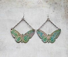 Handcrafted Rustic Copper Patina Etched Butterfly by LaFreeBoheme, $36.00
