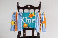 Under the sea party banner with orange fish and yellow starfish in aqua burlap makes cute sea nursery décor for baby highchair birthday. First Birthday Party Themes, Birthday Themes For Boys, Baby Boy 1st Birthday, First Birthday Photos, Boy Birthday Parties, Birthday Ideas, Birthday Stuff, Under The Sea Theme, Under The Sea Party
