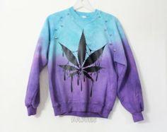 Custom Made - Dyed Marijuana Spiked Studded Sweatshirt