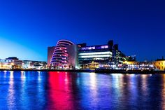 Dublin - The Blue Hour - A view of the Convention Centre Dublin featuring the MV Cill Airne, a restaurant ship lit up. Blue Hour, Convention Centre, Dublin, Light Up, Opera House, Restaurant, Ship, Gray, Building