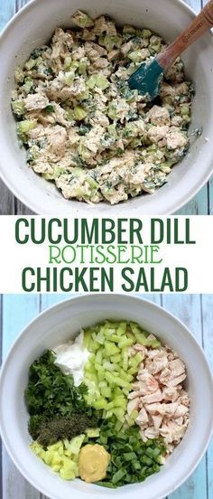 This recipe for lightened-up Cucumber Dill Greek Yogurt Rotisserie Chicken Salad. - This recipe for lightened-up Cucumber Dill Greek Yogurt Rotisserie Chicken Salad… – This recip - Chicken Recipes For Kids, Chicken Salad Recipes, Healthy Salad Recipes, Vegetarian Recipes, Keto Recipes, Salad Chicken, Yogurt Recipes, Easy Recipes, Yogurt Chicken