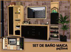 Maica bathroom by Mary Jiménez at via Sims 4 Updates The Sims, Sims Cc, Dresser Furniture, Bathroom Furniture, Sims 4 Beds, Sims 4 Controls, Sims 4 City Living, Muebles Sims 4 Cc, Tv Entertainment Centers