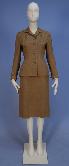 TOWNLEY WOOL SUIT with APPLIQUE, 1940's