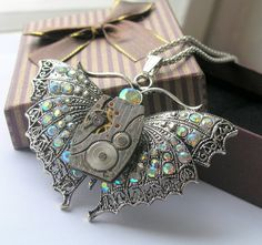 Steampunk Necklace  Jewelry butterfly