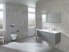 The Most Efficient Bathroom Vanity Units by Porcelanosa Group ➤ Large Bathroom Design, Large Bathrooms, Bathroom Interior Design, Luxury Bathrooms, Bathroom Designs, Bathroom Vanity Units, White Bathroom Tiles, Bathroom Colors, Bathroom Wall