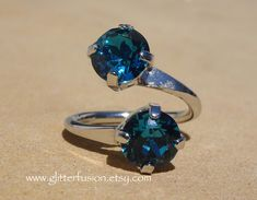 Indicolite Swarovski Crystal Wrap Ring, Deep Teal Blue Crystal Boho Chic Statement Ring, Unique Glitter Fusion Bohemian Pageant Jewelry Swarovski Crystal Necklace, Crystal Jewelry, Swarovski Crystals, Deep Teal, Teal Blue, Bohemian Style Jewelry, Boho Chic, Anna Wintour, Bridesmaid Earrings