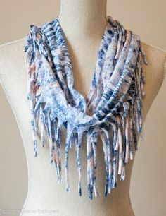 Pale Blue & Grey Tassel Scarf