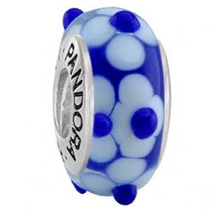 Pandora Murano Glass Bead Blue Screw Thread Small Flower Description >> $37.00