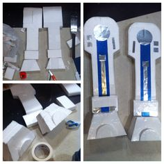 Here's how I made the legs for the R2D2 costume. I used styrofoam, white duct-tape and metallic paper in silver and blue.
