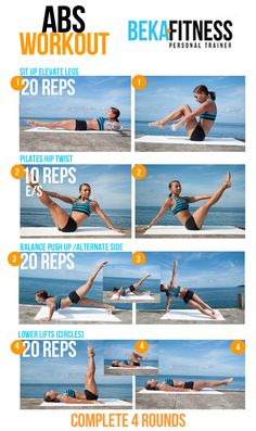 Abs workout. I would do a Pilates Teaser for the first exercise (similar kind of movement) and lift the head neck and shoulders off the mat with my hands clasped behind my head for the last exercise to make it more challenging.