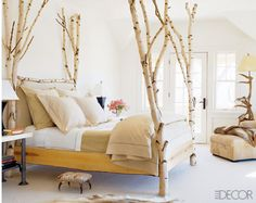 A Birch Tree Bed, Elle Decor. Birch Bed by Diane Cole Ross. Birch Tree Decor, Branch Decor, Birch Trees, Tree Branches, Aspen Trees, Birch Bark, Wood Tree, Birch Logs, Cypress Trees