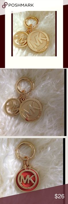 FREE SHIPPING 1 HR.  Offer me $6 less ONLY‼️ 24 kt gold dipped MK logo charm with Salmon color enamel inlay.  Dress up any bag and use it as a bag charm or a keychain! Remove charms off of the closure, and create a beautiful necklace. Michael Kors Bags