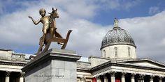 Boy on rocking horse in Trafalgar Square, London