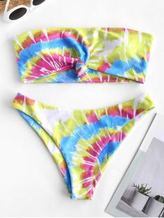 28ed9b14ab2 ZAFUL Knot Spiral Tie Dye Swimsuit Print Bandeau Bikini Swimsuit - Multi-a  S Your