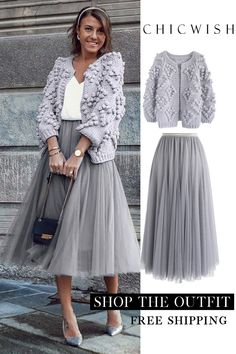 My Secret Weapon Tulle Maxi Skirt in Grey Trend Fashion, Look Fashion, 90s Fashion, Fashion Dresses, Womens Fashion, 70s Outfits, Skirt Outfits, Fall Outfits, Modest Outfits