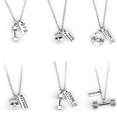 Fitness Gym necklace dumbbell necklace Pendant Jewelry Bodybuilding Necklaces Men Women Sport Kettlebell Barbell Dumbbell Gift - Famous Last Words Padlock Necklace, Moon Necklace, Diamond Pendant Necklace, Diy Necklace, Fashion Necklace, Pendant Jewelry, Jewelry Necklaces, Teen Necklaces, Chain Pendants