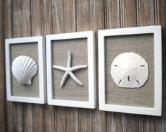 Cottage Chic Set of Beach Wall Art, Nautical Decor, Beach House Wall Decor, Sea Shell Art, Beach Decor, Coastal Art, PURE WHITE, Grey Burlap