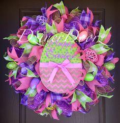 Chevron Happy Easter Egg deco mesh Wreath by DzinerDoorz on Etsy, $125.00