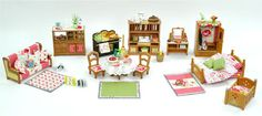 16th Doll/ Sylvanian Families Decorated House Set. Kitchen, Bedroom, Lounge +++ | eBay