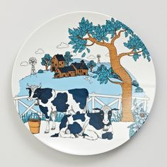 Serve the perfect ploughmans lunch on a MOZI melamine plate. This high quality, enduring range of melamine tells a farmhouse story at your table or when artfully displayed on kitchen walls. Naive, Dinner Plates, Habitats, Whimsical, Moose Art, House Design, Ceramics, Illustration, Artwork