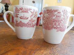 English Red/Pink Transferware/ Toile Mugs by peonyexpressions