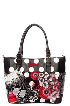 Desigual women�s Saintropez Flower bag. This large bag combines black and white dots with pink spheres. If you like striking accessories then this is the bag for you! It measures 34�x�13.5�x�28�cm.