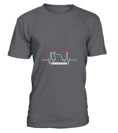 Doberman Doberman Silhouette Heartbeat  Funny Doberman T-shirt, Best Doberman T-shirt