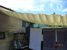 Shade Awning ... painter's drop cloth, grommets, hooks, wire rope thimble &…