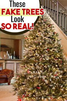 These fake Christmas trees look SO REAL! Gorgeous and realistic looking artificial Christmas trees. Christmas Tree Guide, Pre Lit Christmas Tree, Simple Christmas, Winter Christmas, Christmas Tree Decorations, Christmas Ideas, Christmas Recipes, Christmas Crafts