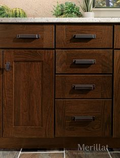 Delicieux ... Nicely In Darker Stains, Which Highlight The Natural Beauty Of The Wood  In A Contemporary Way. Shown With Merillat Masterpiece® Fordham Cabinet  Hardware ...