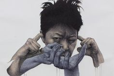 We think we have expressed this sentiment on the site before, but we are huge fans of the work of Korean artist, Spunky Zoe. His ballpoint and acrylic works just have this original vision to them, not to mention that they are created on large format paper. Fascinating work as always.
