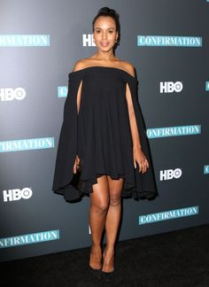 Kerry Washington looks simple and stylish in a black caped dress in New York City at the NYC Special Screening of HBO Film ''Confirmation'' on Thursday.