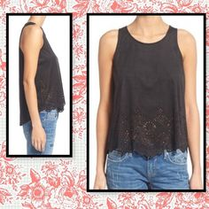 Laser cut flowy tank . Laser cut floral print on faux suede. 95% polyester 5% spandex. Back keyhole with button hook closure.  Measures from back of neck to hem approx 25  measured flat armpit to armpit approx 19 1/2. Some creases from folding love on a hanger Tops Tank Tops