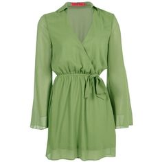 Boohoo Mia Woven Wrap Shirt Dress (€23) ❤ liked on Polyvore featuring dresses, green evening dress, evening dresses, cocktail dresses, green shirt dress and bodycon dress