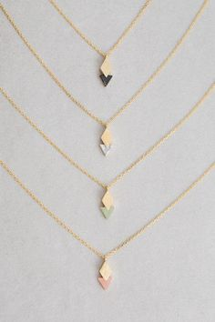 Queen of Diamonds Stone Necklace Diamond overlapping triangle stone charm necklace. Dainty Jewelry, Cute Jewelry, Jewelry Box, Jewelery, Jewelry Accessories, Fashion Accessories, Jewelry Necklaces, Women Jewelry, Fashion Jewelry