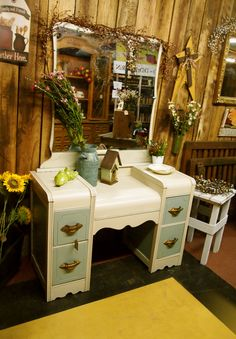 Shabby Chic Vintage Vanity and Mirror ~ Found at The Just Plain Country Store in Walnut Cove, NC